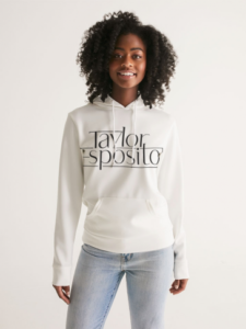 White hoodie with Taylor Esposito text logo on the front